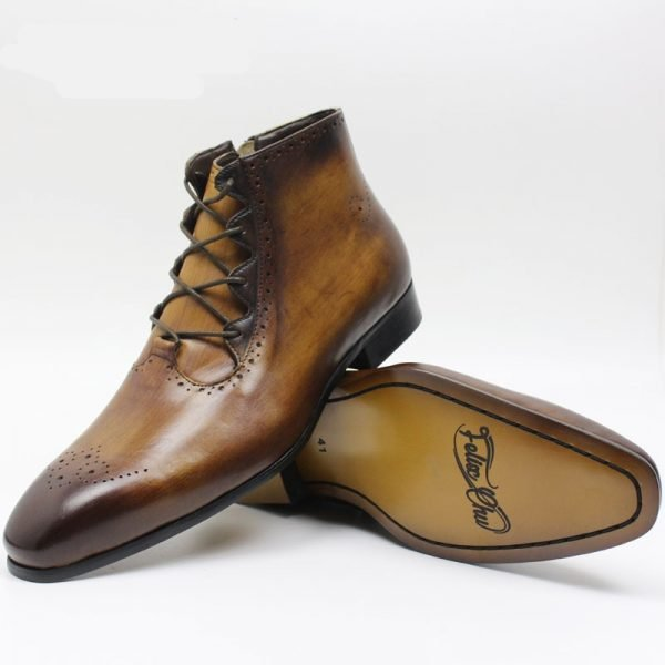brown leather ankle boot left side and right sole