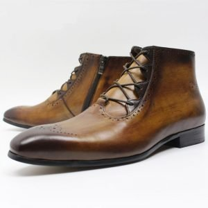 brown leather ankle boot left